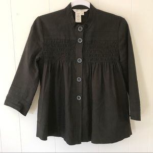 Max Studio Black Crop Smocked Jacket Lagenlook